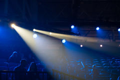 Blue disco lights. On a club stage stock images