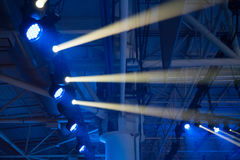 Blue disco lights. On a club stage stock photos