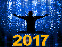 Blue disco wall DJ and 2017 background Stock Image