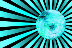Blue discoball on disco background Stock Images