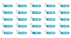 Blue discount label set vector for design. Stock Photos