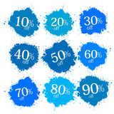 Blue Discount Labels, Stains, Splashes Stock Photo