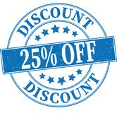 Blue discount 25% off grungy round rubber stamp illustration. Old retro rubber stamp on white background Stock Photos