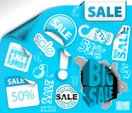 Blue discount tickets, labels, stamps Stock Images