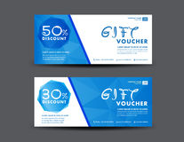 Blue Discount Voucher template, coupon design,ticket, banner,car Royalty Free Stock Photo