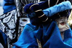 Blue disguises. A couple of blue masks at the Carnival (Venice stock image