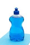 Blue dishwashing liquid Royalty Free Stock Photography