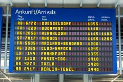 Blue display with arrivals at the airport in German and English Stock Image