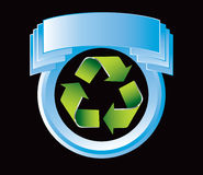 Blue display with green recycle symbol Stock Images