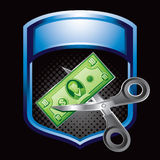 Blue display price cutting Stock Photography