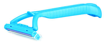 Blue disposable safety razor Stock Images