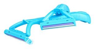 Blue disposable safety razor Royalty Free Stock Photos