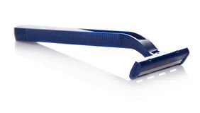 The blue disposable safety razor Stock Images