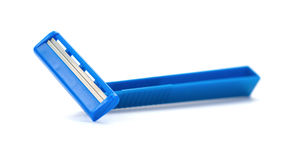 Blue disposable shaver on white Royalty Free Stock Images