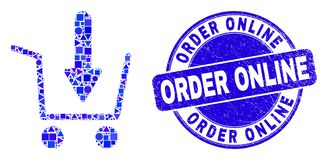 Free Blue Distress Order Online Stamp And Put Shopping Item Mosaic Stock Photography - 184078232