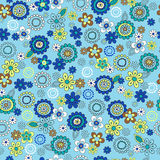 Blue Ditsy Flowers Seamless Repeat Pattern Royalty Free Stock Photography