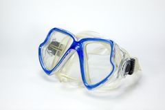Blue Diving glasses on white background.  stock images