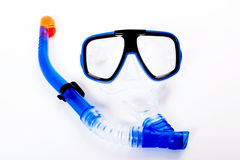 Blue diving goggles. With snorkel royalty free stock image