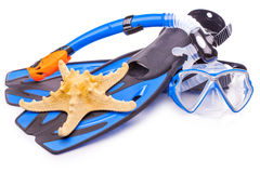 Blue diving goggles,snorkel and flippers. isolated Stock Photos