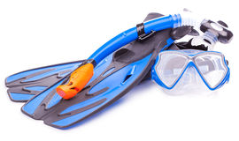 Blue diving goggles,snorkel and flippers. isolated Stock Image
