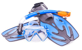 Blue diving goggles,snorkel and flippers. isolated Royalty Free Stock Photos