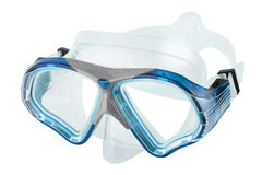 Blue diving goggles. On white background stock image