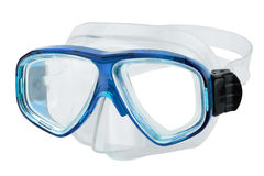 Blue diving goggles. On white background stock photography