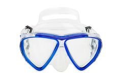 Blue diving mask, frontal location, on a white background. Isolate stock images
