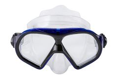 Blue diving mask, on a white background, swimming goggles, isolate. Blue diving mask, on a white background, swimming goggles royalty free stock images