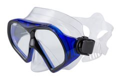 Blue diving mask, on a white background, swimming goggles, isolate, side view. Blue diving mask, on a white background, swimming goggles, isolate royalty free stock photography