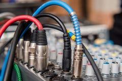 Blue DJ audio mixer. Shot close-up Royalty Free Stock Images