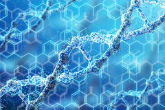 Blue DNA chain and formulas, diagonal Stock Photography