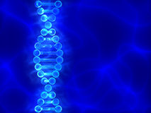 Blue DNA (deoxyribonucleic acid) background  with waves Stock Image