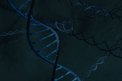 Blue DNA double Helix in firld of DNA stock image