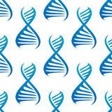 Blue DNA helices seamless pattern Royalty Free Stock Images