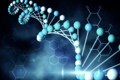 Blue DNA strand with chemical structures Stock Photography