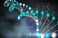 Blue DNA strand with chemical structures Stock Image