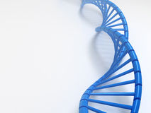 Blue Dna structure placed on soft white background, 3D illustration. Royalty Free Stock Images