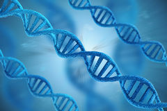Blue dna structures on blue background Royalty Free Stock Photos