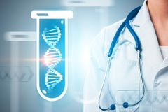 Blue dna in test tube, man doctor close up. White dna helix in blue test tube over gray background next ot unrecognizable young man doctor with stethoscope stock image