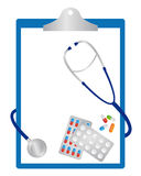 Clipboard with pills and stethoscope Stock Image