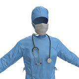 Blue doctor uniform with stethoscope isolated on white. 3D illustration Stock Photos