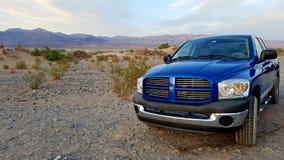 Blue Dodge Ram pickup. A blue Dodge Ram pickup in Death Valley, California royalty free stock photos