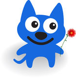 Blue dog. Magnificent blue dog with flower. Vector illustration Stock Photo
