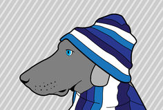 Blue Dog. A dog with a blue hat stock illustration