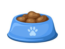 Blue dog bowl with feed. Vector illustration. Royalty Free Stock Photos