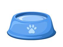 Blue dog bowl with water. Vector illustration. Royalty Free Stock Photography