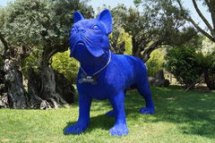 Blue dog sculpture art. Sculpture of blue dog at Bacalhoa winery in Portugal Stock Photo