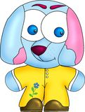 Blue dog in yellow tights Stock Photography