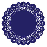 blue doily lace round royal 库存照片